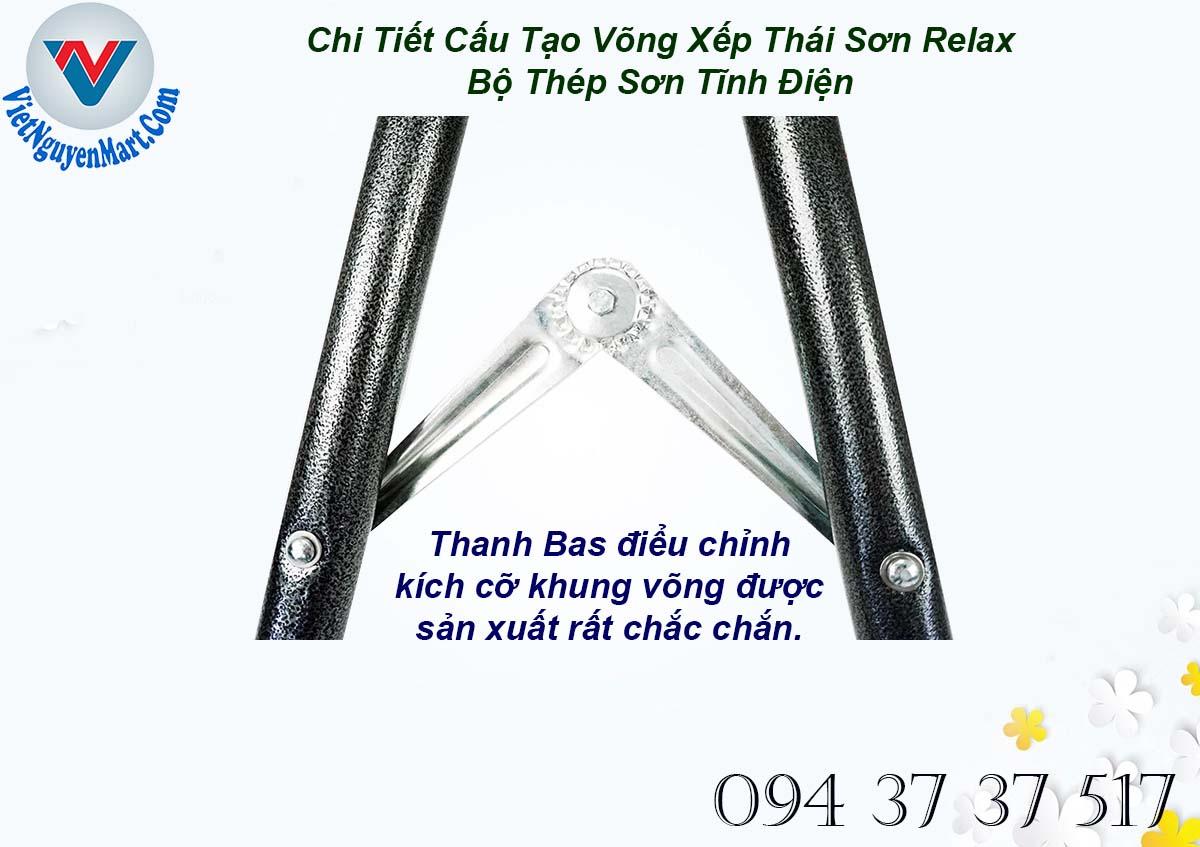 Bas xếp khóa kích cỡ võng xếp Thái Sơn Relax thép