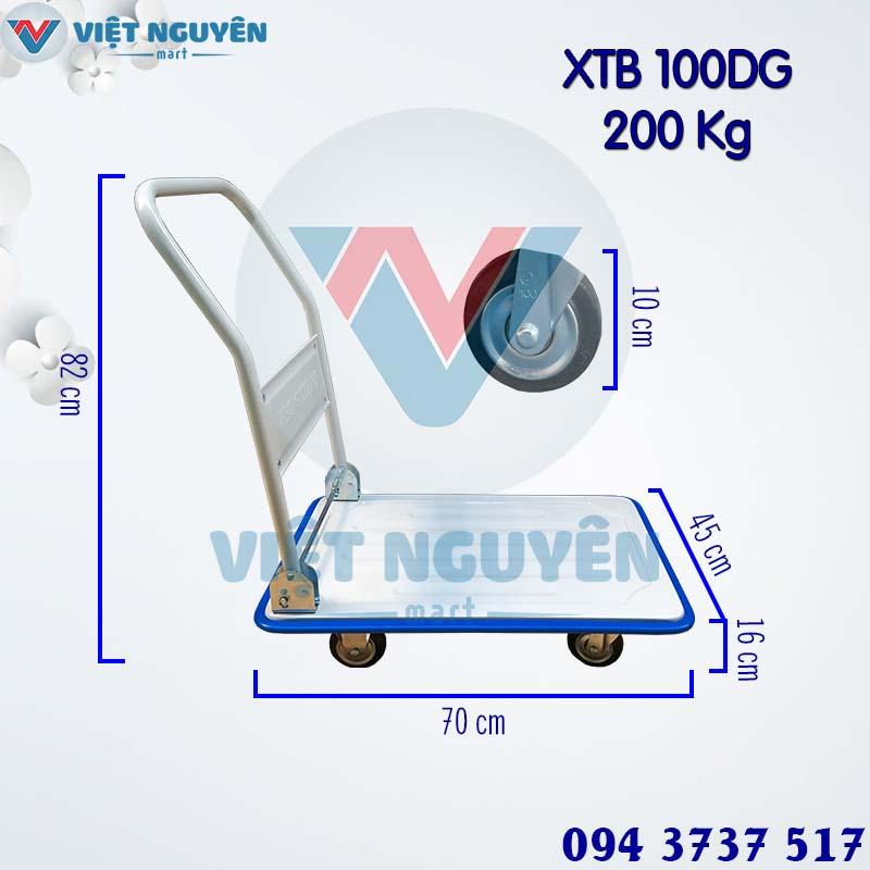 Thông số kỹ thuật xe đẩy hàng 4 bánh 200Kg XTB 100D Phong Thạnh