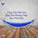 Võng Xếp Thái Sơn Ống Tròn Khung Thép Xanh Dương (2)