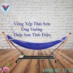 Võng Xếp Thái Sơn Ống Vuông Khung Thép Xanh Dương (1)