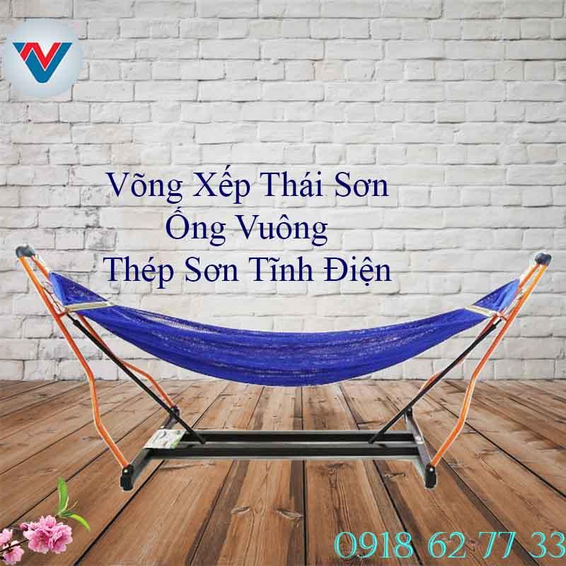 Võng Xếp Thái Sơn Ống Vuông Thép Sơn Tĩnh Điện lưới Xanh Lá