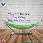 Võng Xếp Thái Sơn Ống Vuông Khung Thép Xanh Lá (1)