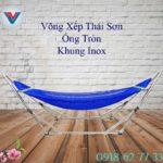 Võng Xếp Thái Sơn ống tròn khung inox xanh dương (2)