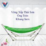 Võng Xếp Thái Sơn ống tròn khung inox xanh lá