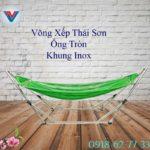 Võng Xếp Thái Sơn ống tròn khung inox xanh lá (3)