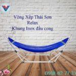 Võng Xếp Thái Sơn Relax khung inox đầu cong xanh dương (2)