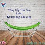 Võng Xếp Thái Sơn Relax khung inox đầu cong xanh lá (2)