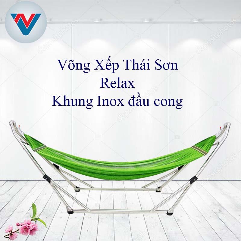 Võng Xếp Thái Sơn Relax inox đầu cong lưới Xanh Lá giá rẻ
