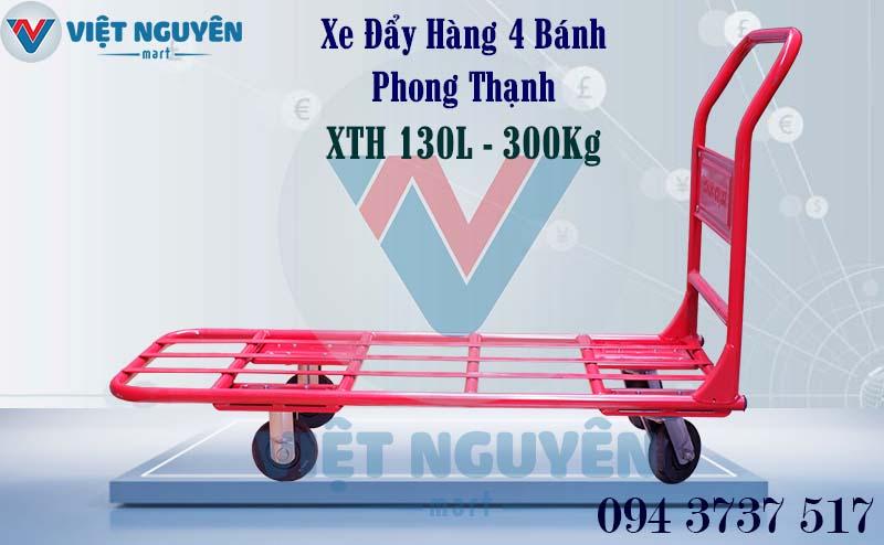 Xe Đẩy Hàng 4 Bánh 300Kg Phong Thạnh XTH 130L Tay Cố Định Sàn Lưới