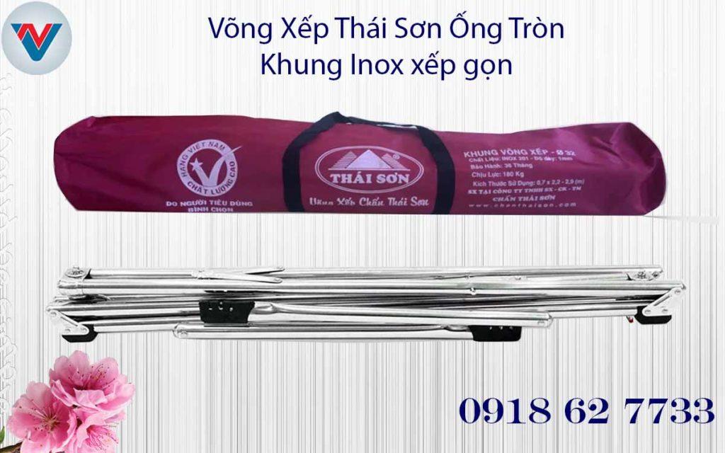 Bộ Võng Xếp Thái Sơn Ống Tròn Inox xếp gọn