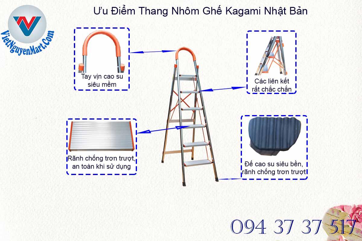 Các đặc điểm thiết kế đẳng cấp thang nhôm ghế Kagami Nhật Bản