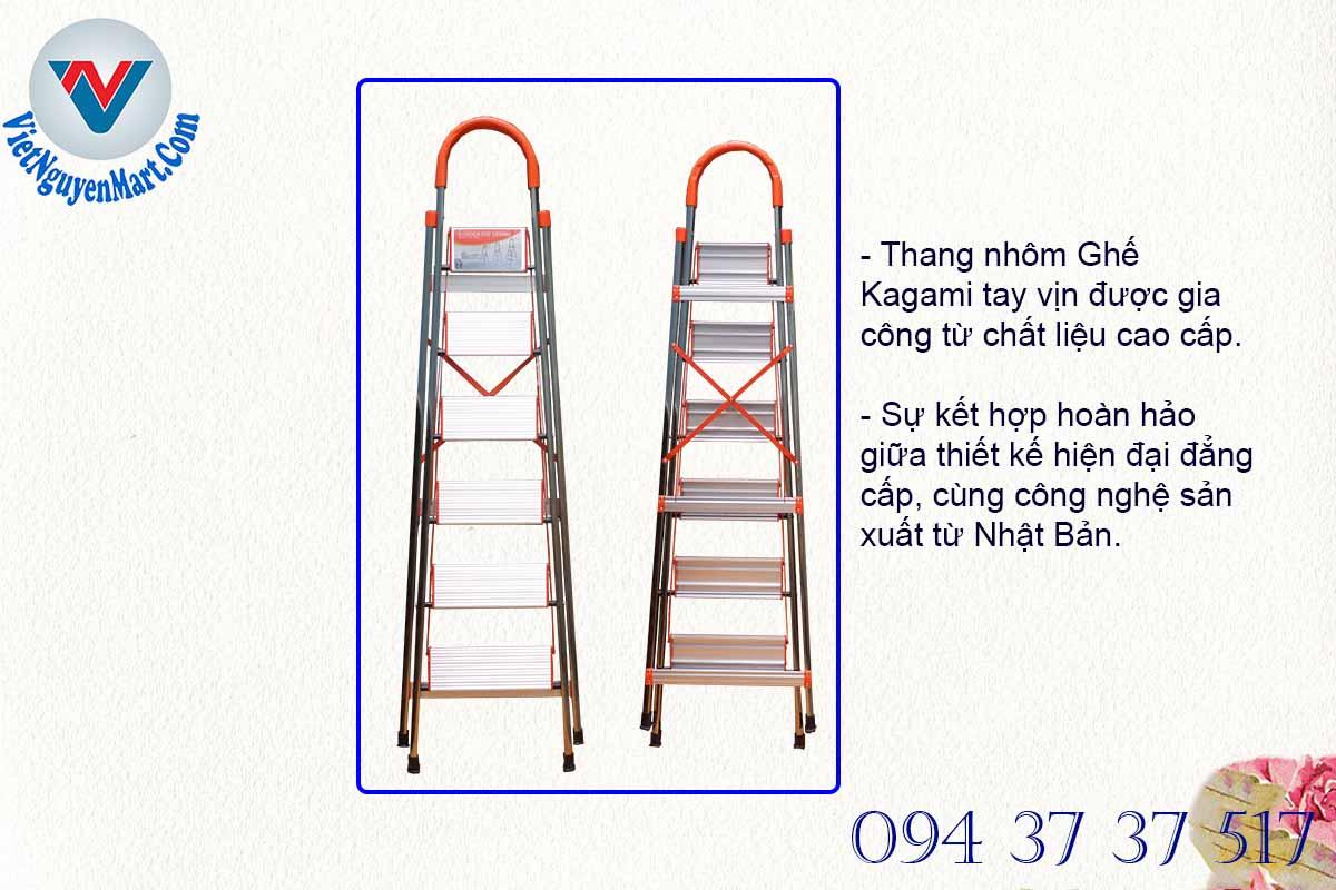 Cấu tạo thang nhôm ghế Kagami chất liệu cao cấp giá thành ưu đãi