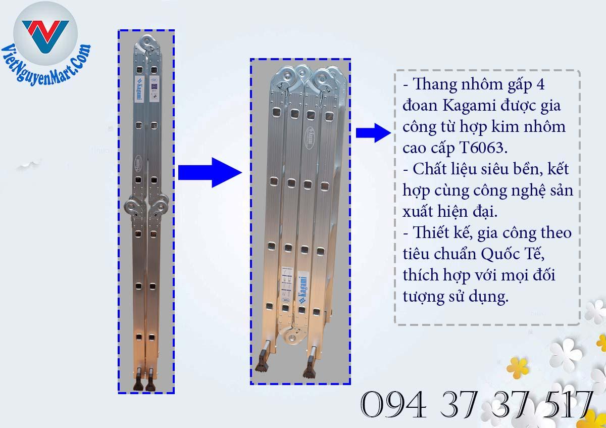 Thân thang nhôm gấp 4 đoạn Kagami từ chất liệu cao cấp T6063