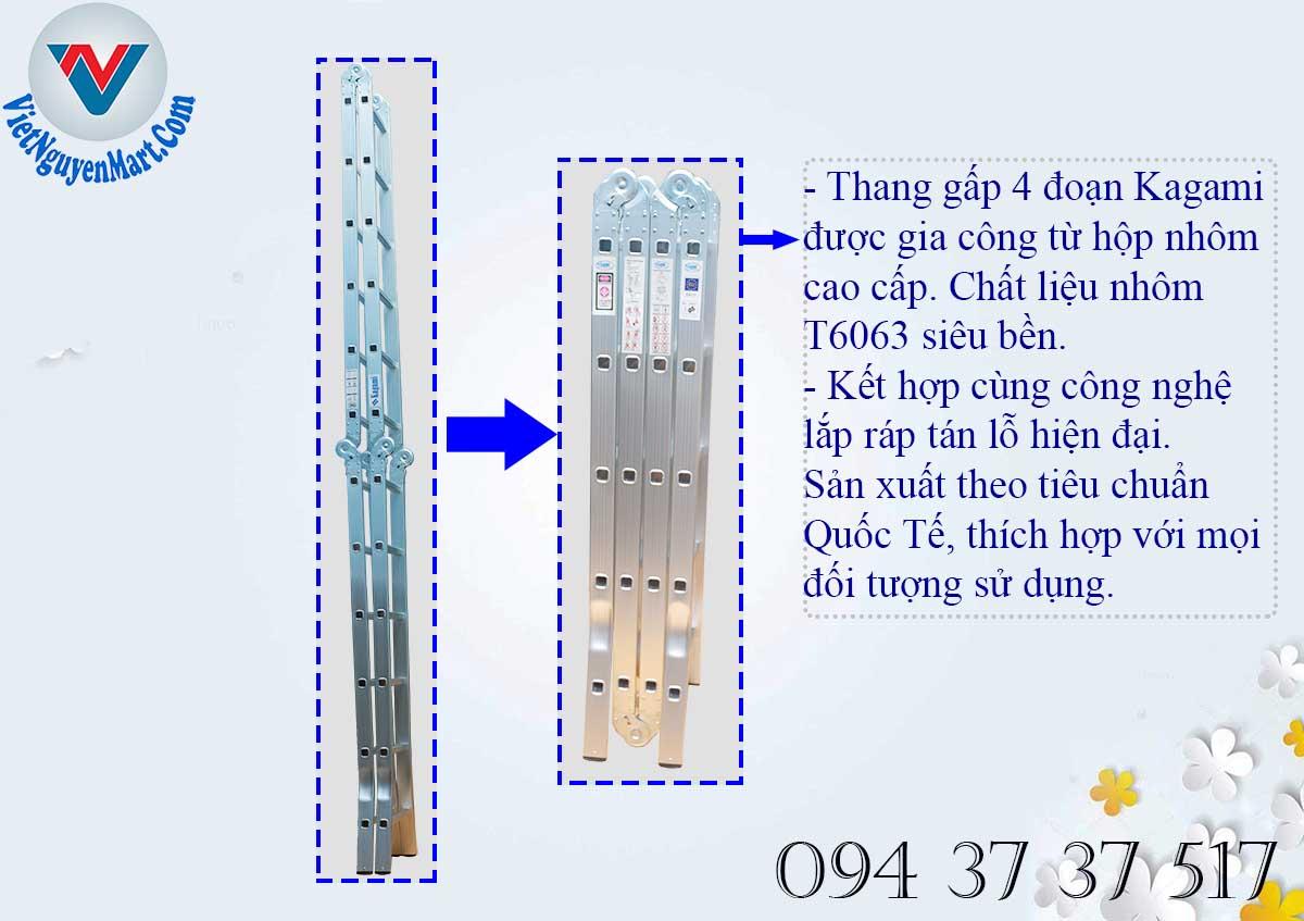 Thân thang nhôm gấp 4 đoạn Kagami KT -37D từ chất liệu cao cấp T6063