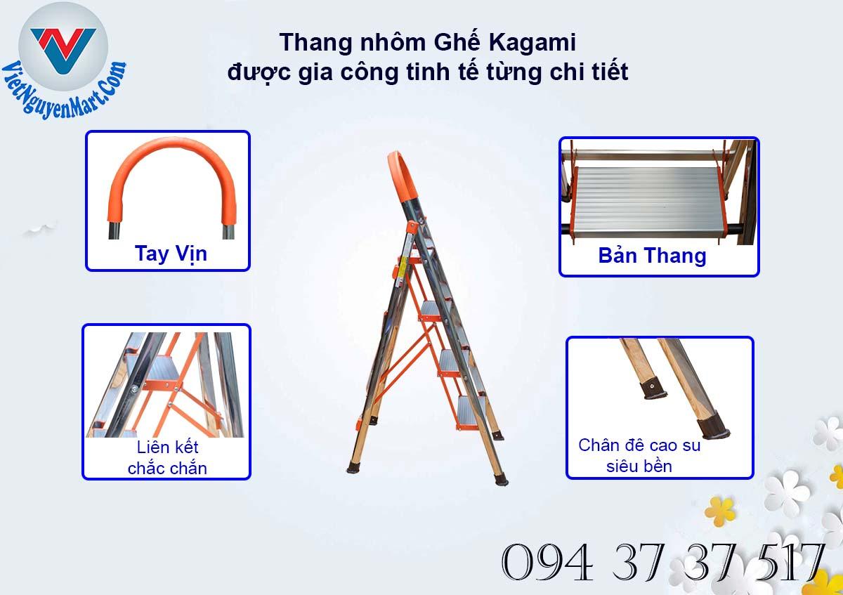 Đặc điểm nỗi bậc từ cấu tạo thang nhôm ghế Kagami