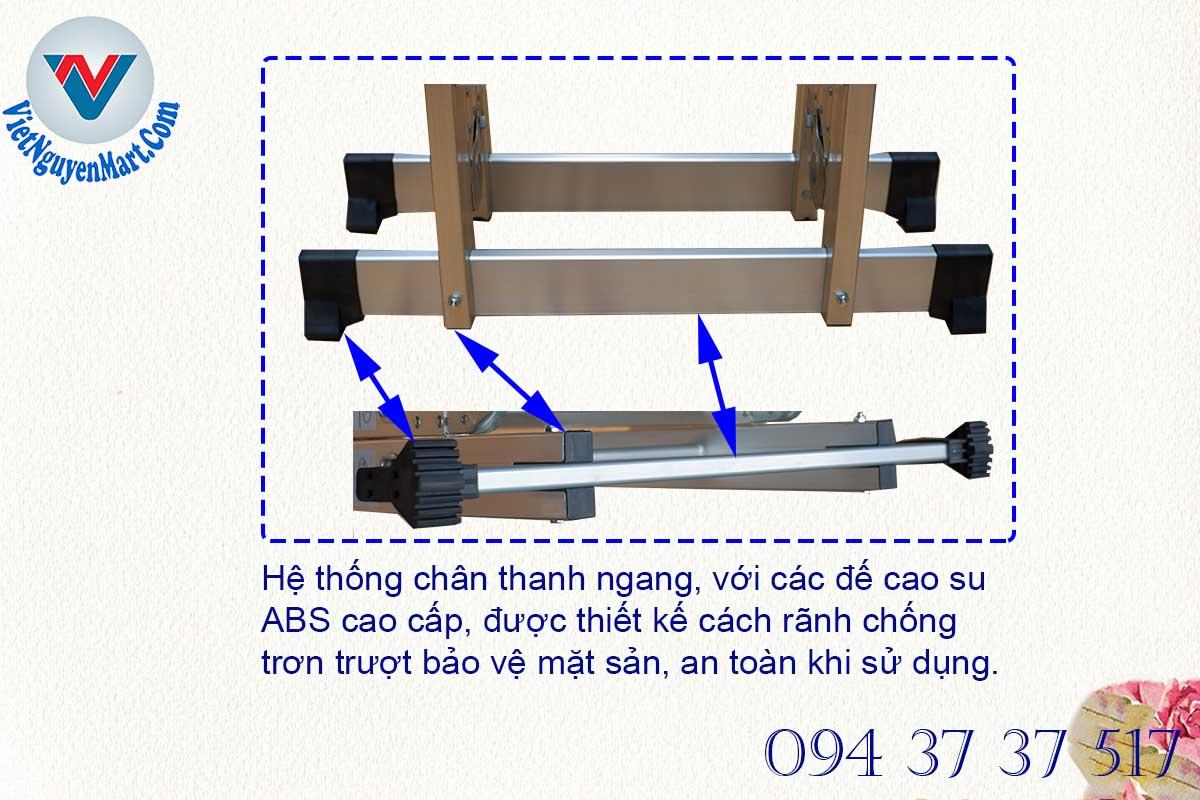 Hệ thống chân thanh ngang cao cấp trong dòng thang nhôm gấp 4 đoạn