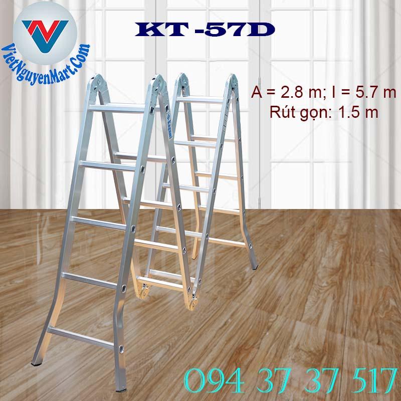 Thang nhôm gấp xếp 4 đoạn Kagami KT -57D chiều cao 5.7m giá rẻ