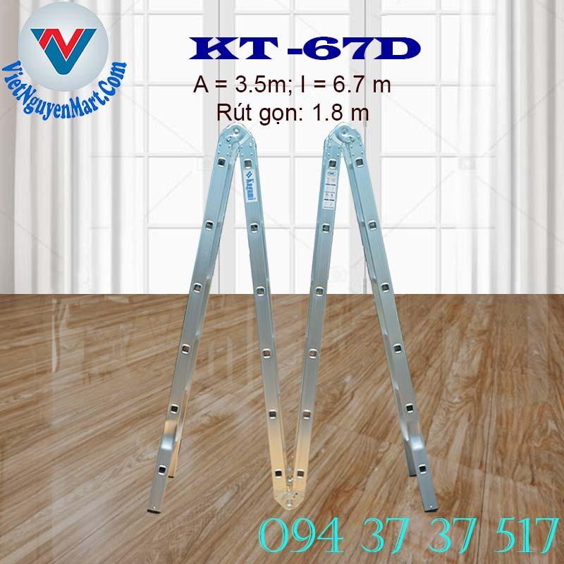 Thang nhôm gấp xếp 4 đoạn Kagami KT -67D chiều cao 6.7m giá rẻ