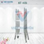 Thang nhôm gấp xếp 4 đoạn 4,7m chữ M chân duỗi KT -47D