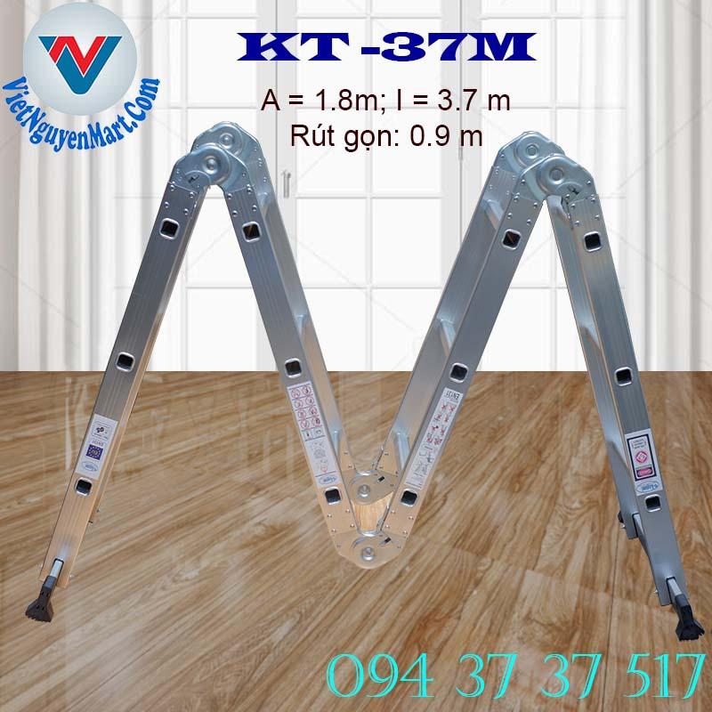 Thang nhôm gấp xếp 4 đoạn Kagami KT -37M chiều cao 3.7m giá rẻ