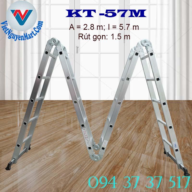 Thang nhôm gấp xếp 4 đoạn Kagami KT -57M chiều cao 5.7m giá rẻ
