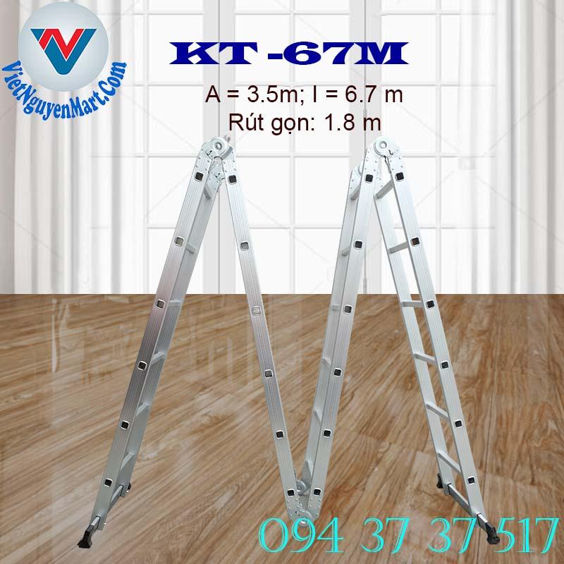 Thang nhôm gấp xếp 4 đoạn Kagami KT -67m chiều cao 6.7m giá rẻ
