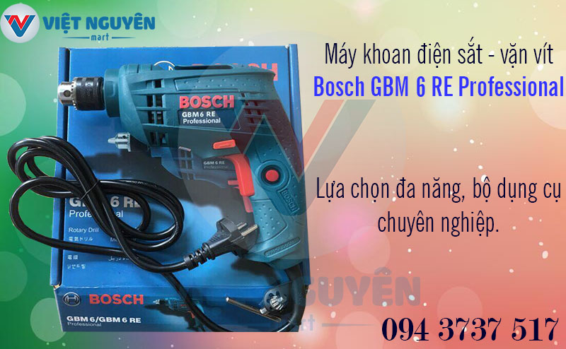 Máy Khoan Sắt Điện Bosch GBM 6RE Professional 350W