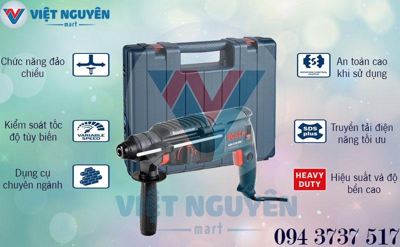 Ưu điểm chức năng máy khoan bê tông búa điện Bosch GBH 2-26DRE giá tốt