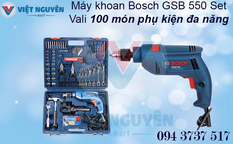Chính sách bán máy khoan động lực điện Bosch GSB 550 set vali chính hãng