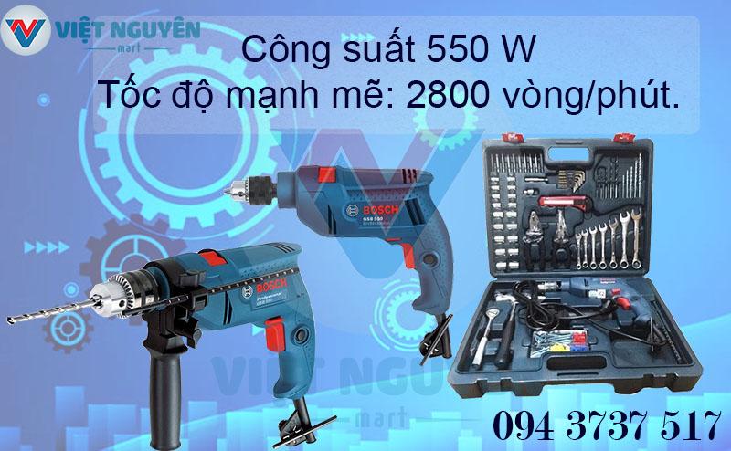máy khoan động lực điện Bosch GSB 550 SET bộ Vali full 100 món phụ kiện