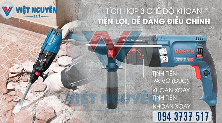Tiện ích máy khoan búa bê tông điện Bosch GBH 2-26DRE đa năng