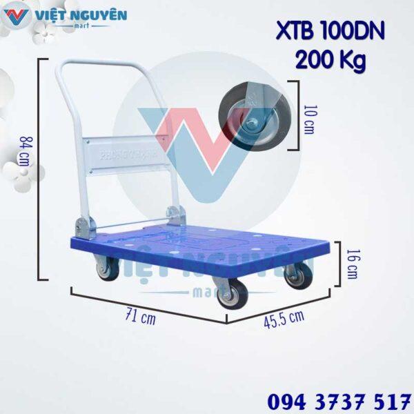 Thông số kỹ thuật xe đẩy hàng 4 bánh 200Kg XTB 100DN sàn nhựa Phong Thạnh chính hãng