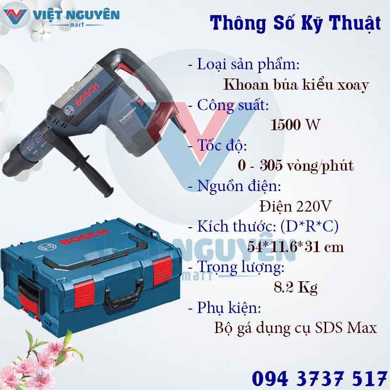 Thông số kỹ thuật máy khoan búa bê tông điện Bosch GBH 8-45D
