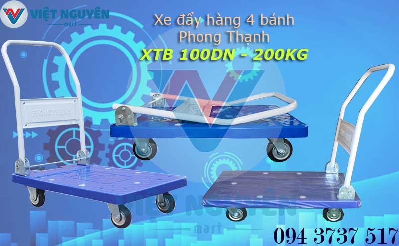 Xe Đẩy Hàng 4 Bánh 200kg Phong Thạnh XTB 100DN Sàn Nhựa