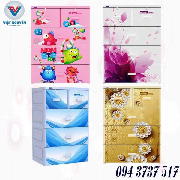 Đại lý tủ nhựa Duy Tân Mina L 4N 4 tầng 5 ngăn chính hãng giá tốt