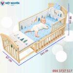Kích thước nôi cũi – giường lớn em bé Chilux gỗ
