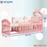 Kích thước nôi cũi – giường lớn em bé Chilux hồng