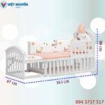 Kích thước nôi cũi – giường lớn em bé Chilux trắng