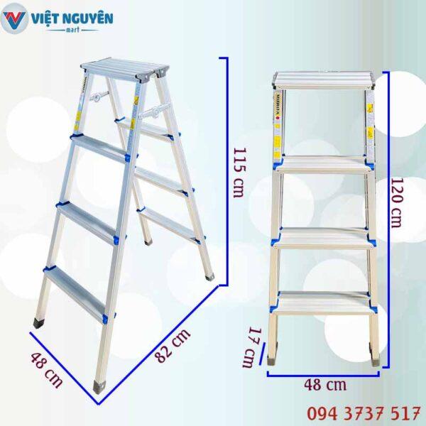 Thông số kỹ thuật thang nhôm chữ A mâm trắng Mitrita MTA04 - 1m15 4 bậc