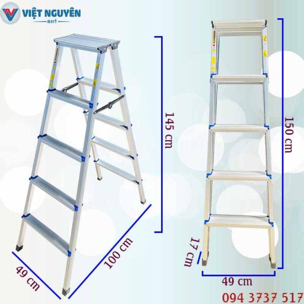 Thông số kỹ thuật thang nhôm chữ A mâm trắng Mitrita MTA05 - 1m45 5 bậc