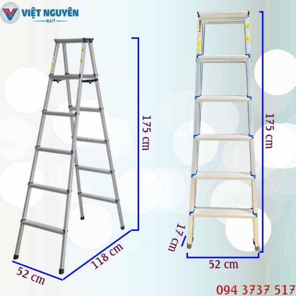 Thông số kỹ thuật thang nhôm chữ A mâm trắng Mitrita MTA06 - 1m75 6 bậc